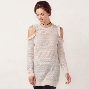 LC Lauren Conrad Pointelle Cold-Shoulder Sweater